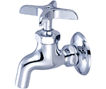 Central Brass 0007-1/2 - Polished Chrome Wall Mounted Single Water Supply Faucet with Plain Outlet and Cross Handle & 1/2-14 NPS female threads