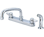 Central Brass 0121-A - Cast Brass Top Mount Kitchen Faucet on 8-inch centers with side spray