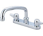 Central Brass 0125-A - Cast Brass Top Mount on 6-inch centers with 8-inch tube spout and 2.0 GPM aerator. Replaceable seats