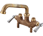 Central Brass 0466 - Cast Brass Laundry Faucet on 3 1/2-inch centers, direct sweat connections, 6-inch tube spout with hose end, straddle legs