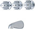 Central Brass 0858 - 8-inch Center Three Handle Tub Shower Valve with Spout