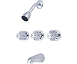 Central Brass 0971-Z - 11-inch Center Three Handle Tub and Shower Faucet