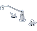 "Central Brass 1172-A-Q - Two Handle Concealed Ledge Kitchen Faucet with 8"" D Style Swivel Spout"