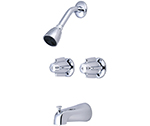 Central Brass 6076 - 6-inch Center Two Handle Tub and Shower Faucet