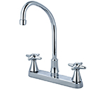 Central Brass 80122-TSA1C2 - Two Handle Cast Brass Kitchen Faucet with Tri-Arc Spout and Cross Handles