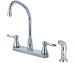 Central Brass 80123-TSA1L2 - Two Handle Cast Brass Kitchen Faucet with Tri-Arc Spout, Lever Handles and Side Spray