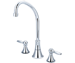 Central Brass 81172-TSA1L1 - Two Handle Concealed Ledge Kitchen Faucet with Tri-Arc Spout and Lever Handles