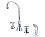 Central Brass 81173-TSA1C1 - Two Handle Concealed Ledge Kitchen Faucet with Tri-Arc Spout, Cross Handles and Side Spray